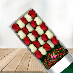 Caja de rosas blancas y rojas