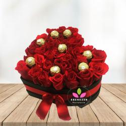 Caja de rosas  mi corazón