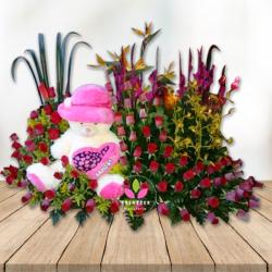 Arreglo floral con Oso de Peluche