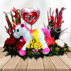 Arreglo Floral con Unicornio y Globo