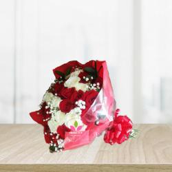 Bouquet de rosas rojas y blancas x  36 unidades