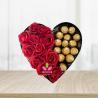 Corazon de rosas con chocolates ferrero