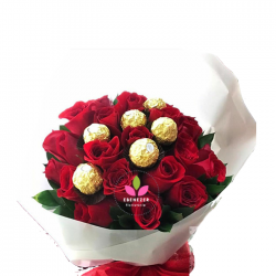 Bouquet de rosas x 24 con chocolates
