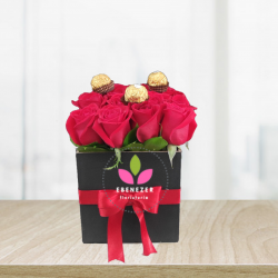 Caja de rosa x16 con chocolates