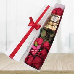 Caja de rosas x6 y chocolates ferrero