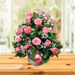 Arreglo floral canasta de rosas