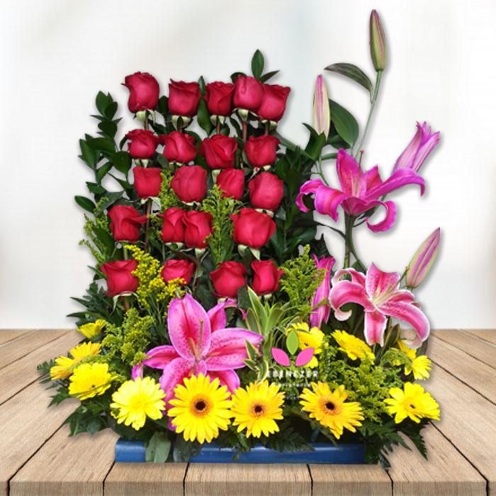 Floristeria En Cali Arreglo Floral Con Rosas Y Gerberas